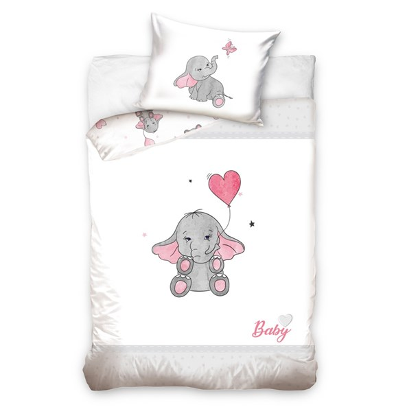 Obliečky do detskej postieľky Slon ružové