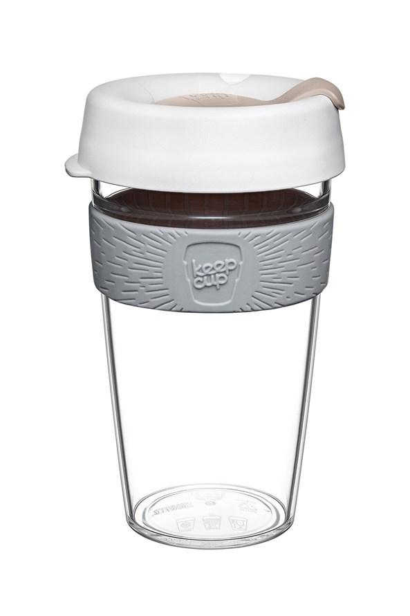 Cana Keepcup 454 ml, din sticla, alb