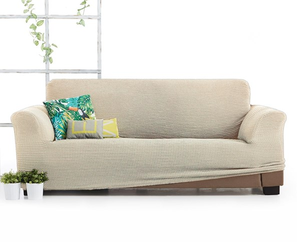 Husa Milos pentru canapea cu trei locuri, crem deschis