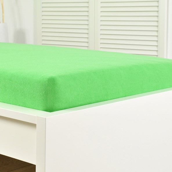 Cearsaf elastic de pat froté, lime