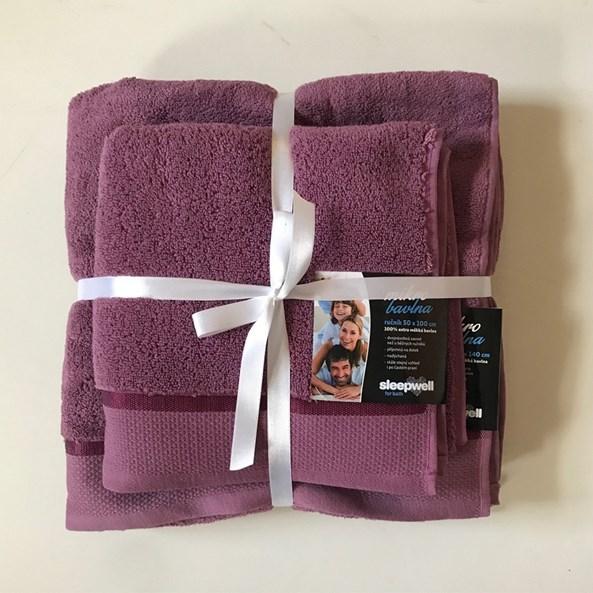 Darčeková súprava uterákov mikrobavlna fialová