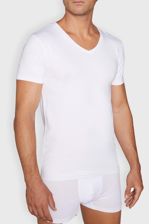 Tricou de corp barbatesc Cotton Nature V neck, alb imagine