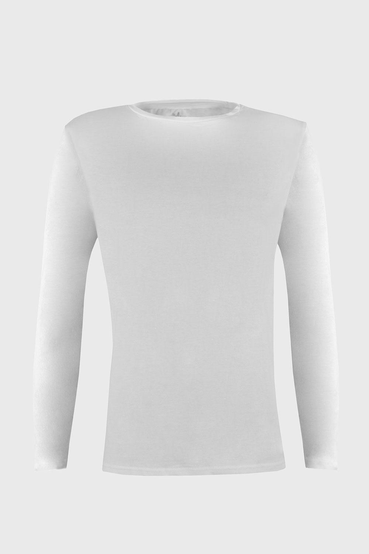 Bluza barbateasca Cotton Nature, maneca lunga, alb imagine