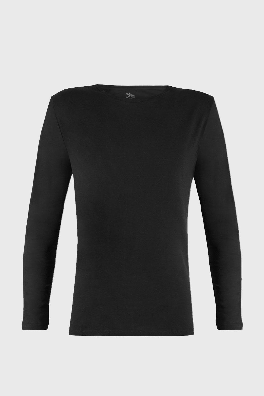 Bluza barbateasca Cotton Nature, maneca lunga, negru imagine