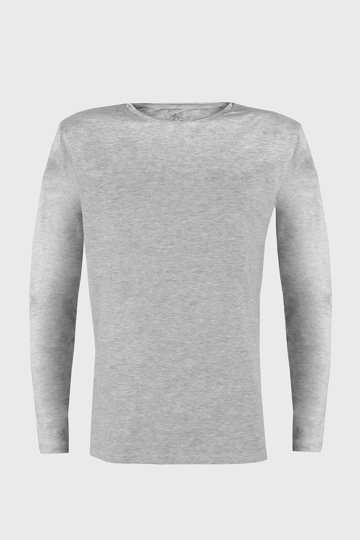 Bluza barbateasca Cotton Nature, maneca lunga, gri imagine