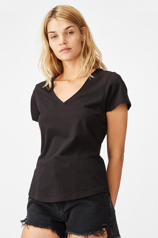 One női rövid ujjú basic póló, fekete
