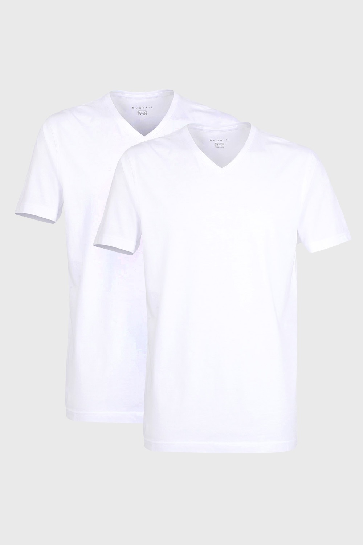 2 pack tricou barbatesc bugatti V-neck, alb