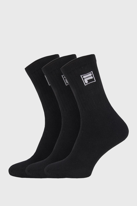 3 pack sosete negre cu logo-ul FILA imagine