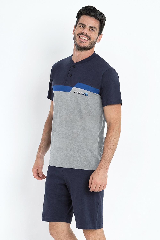 Pijama Basile, gri-albastru imagine