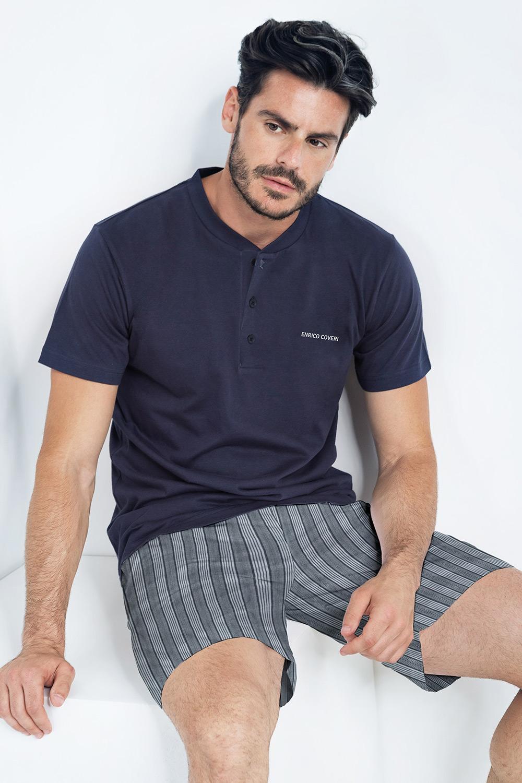 Pijama Corto, albastru imagine