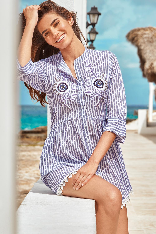 Rochie de plaja Sandra, tip camasa Iconique