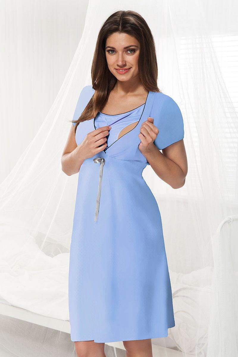 Camasa de noapte Dorota albastru, sarcina si alaptare imagine