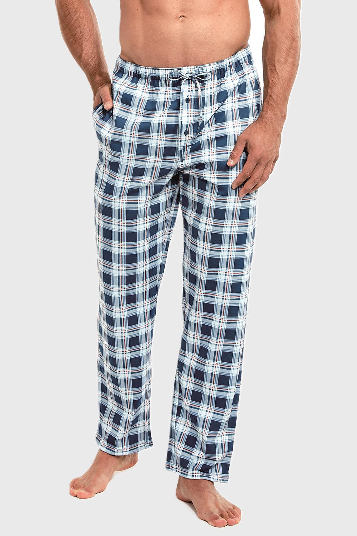 Pantalon pijama, model caroiat, albastru imagine